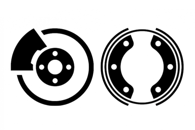 Image of vehicle disc and drum brakes